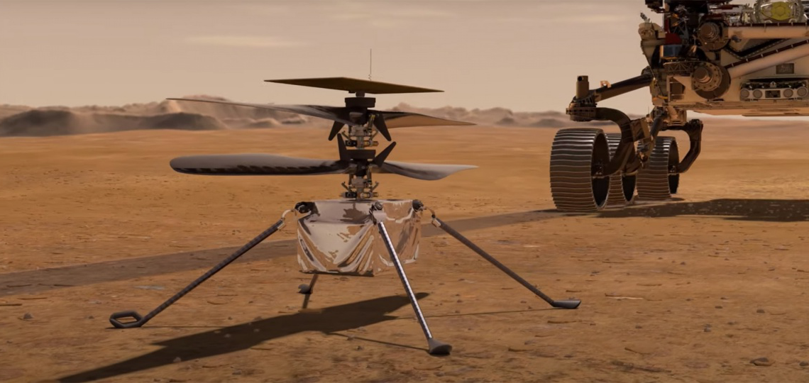 A rendering of the Mars rover on the planet surface