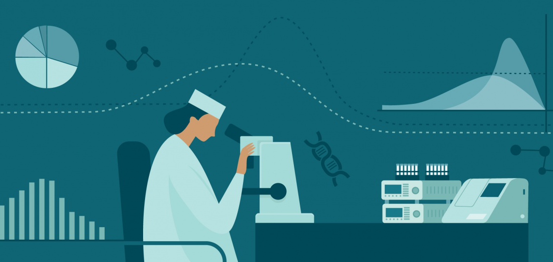 A vector illustration of a female lab researcher looking into a microscope with graphs superimposed in the background