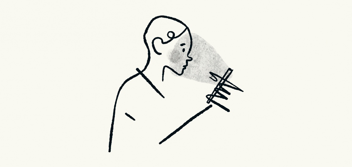 A minimalist line sketch of a person looking at a small device screen and having the glow reflect on their face