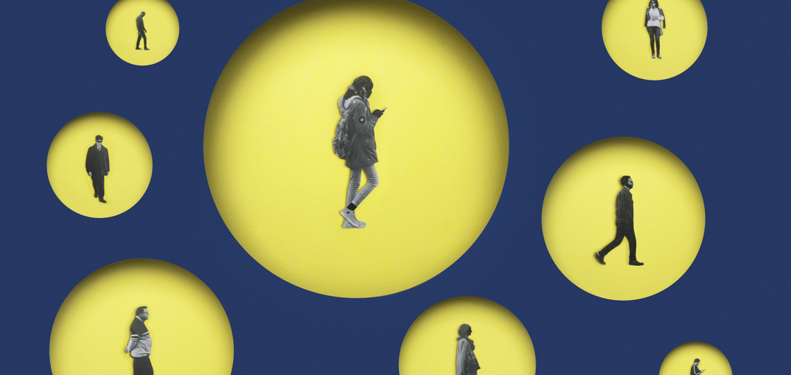 illustration of people in yellow bubbles