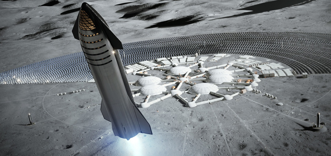 Artist rendering of a spaceship leaving a lunar colony