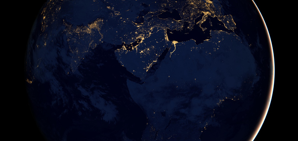 Satellite image of Africa and Europe at night