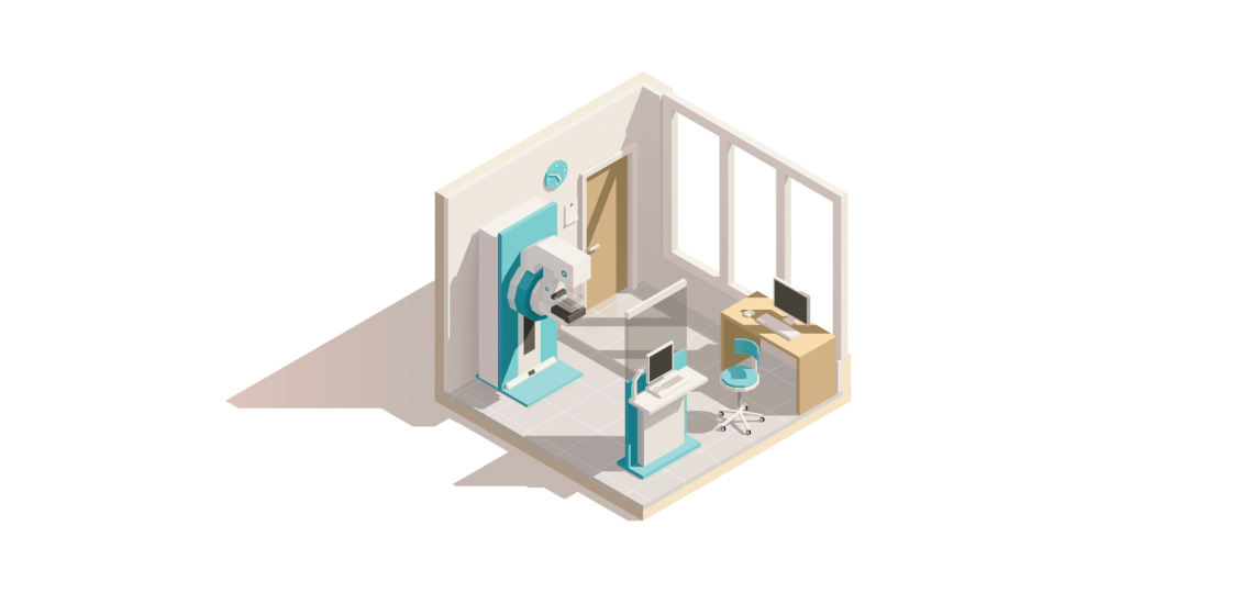 Isometric illustration of a mammography lab