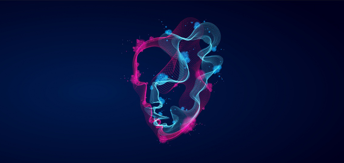 Digital illustration of a blue and pink glowing lines that look like a human face